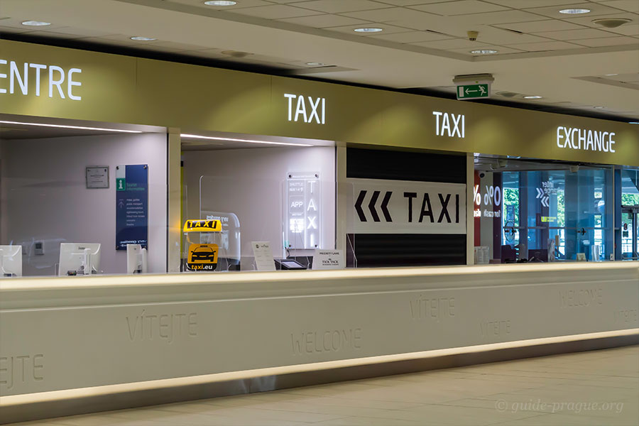 Photo of the Counters of Taxi Services at Prague airport
