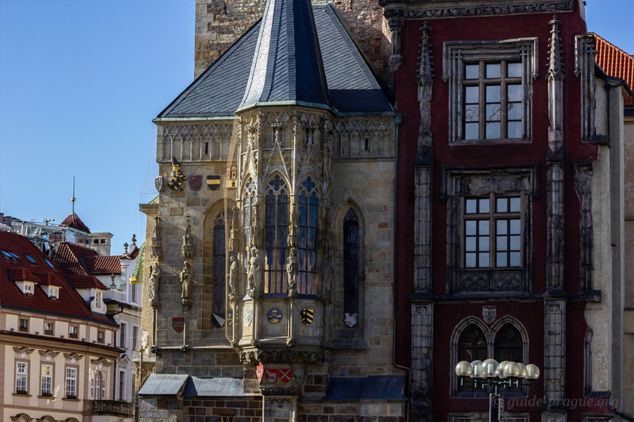 The photo of the bay window on the clock tower, Old Town Hall, Prague