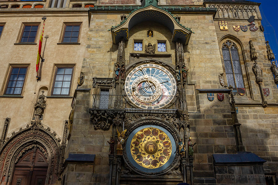 The photo of the Astronomical Clock and the Calendar on the Prague Old Town Hall