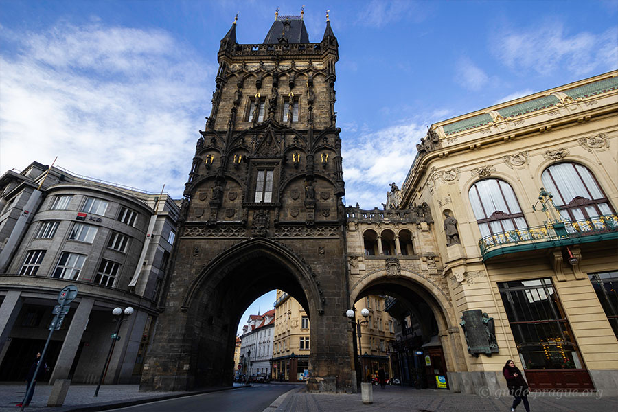 The photo of the Powder gate, Old Town, Prague