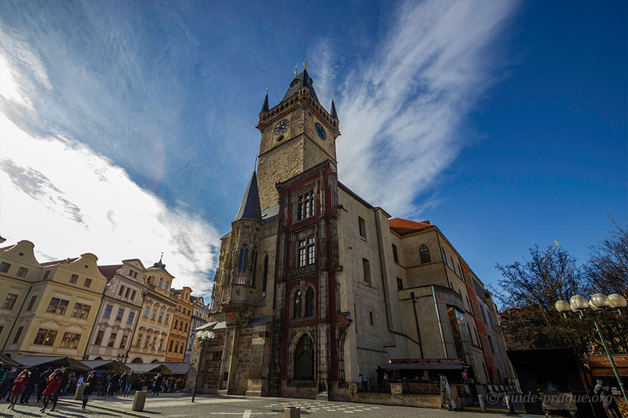 Photo of the clock tower and southern wing of Old Town Hall in Prague