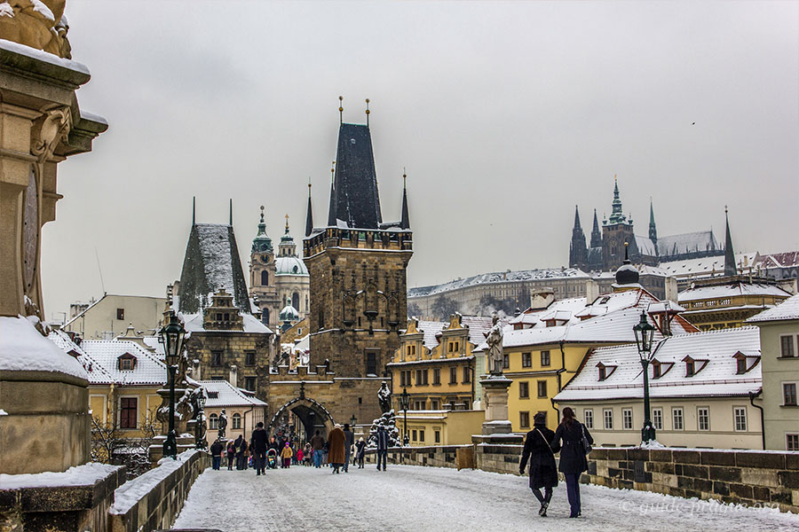Photo of Charles bridge in winter.