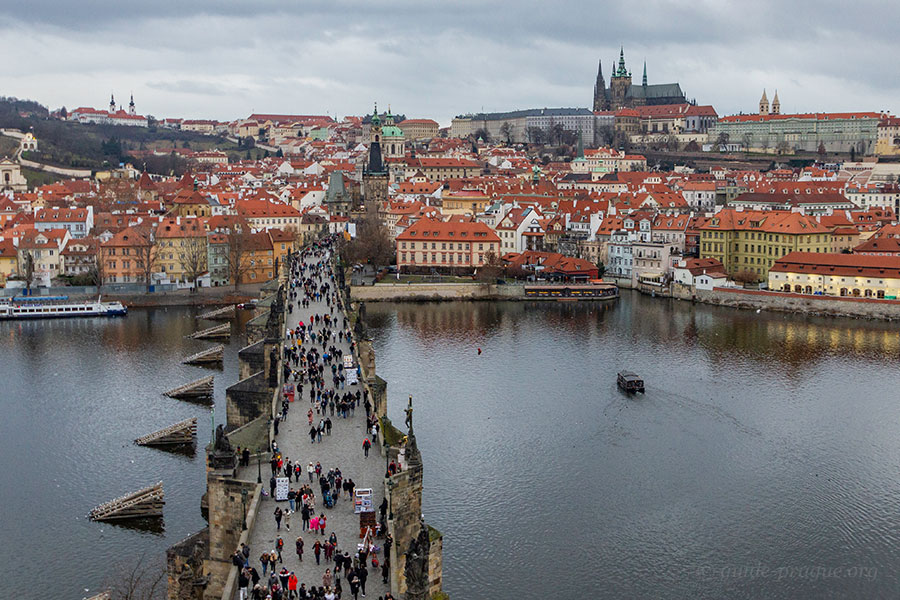 Photo of the view of Charles bridge, the Lesser town and Prague Castle from the Old Town bridge tower.